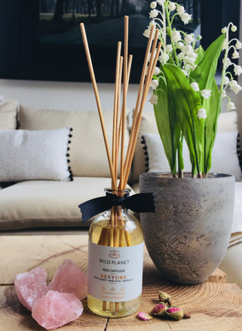 Home Fragrance Diffuser Restore with Rose Quartz crystals on table next to Lily of the Valley plant in pot in living room with sofa in the background