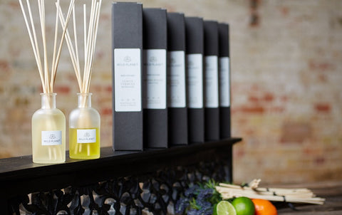 Boxes of Home Fragrance Diffusers with glass bottles of Natural Reed Diffusers with reed sticks