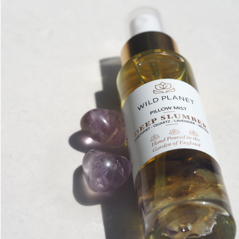 Pillow Mist Deep Slumber Amethyst Crystal Infused Spray Wild Planet Products UK
