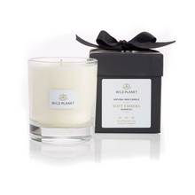 Soft Embers Orange and Clove Scented Candle next to Black box tied with ribbon by Wild Planet