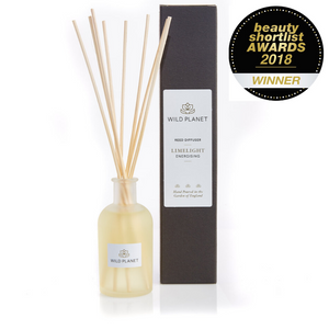 Limelight Reed Diffuser Glass Bottle with next to black box and Beauty ShortList Awards Winner logo