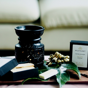 Escape Meditation Luxury Wax Melts next to black oil burner wax melter next to large green leaf