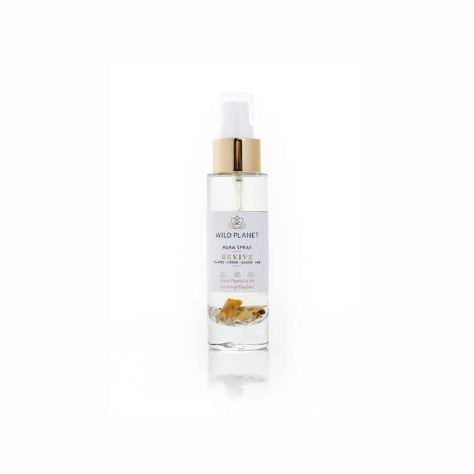 Revive Aura Spray with lime and ginger essential oils with citrine crystals by Wild Planet Products