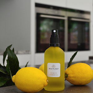 Essential Oil Room Spray glass bottle in kitchen in lemon verbena fragrance