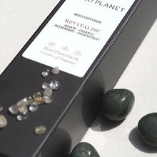 Section of Revitalise Natural Reed Diffuser black box, Green Moss Agate tumble stones and crystals