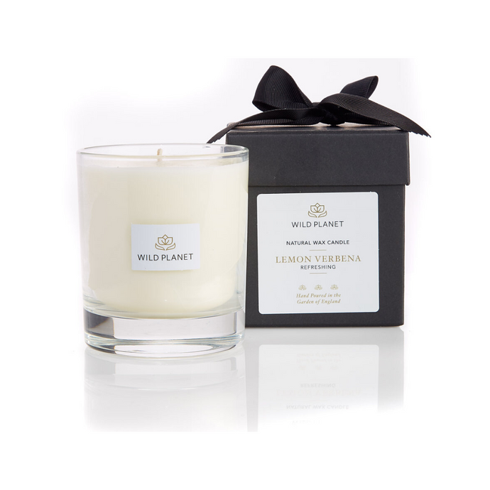 Wild Planet Products 220g Lemon Verbena aromatherapy candle next to black box with ribbon