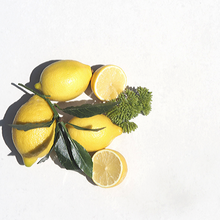 Fresh lemons, one cut in half with green leaves and foliage