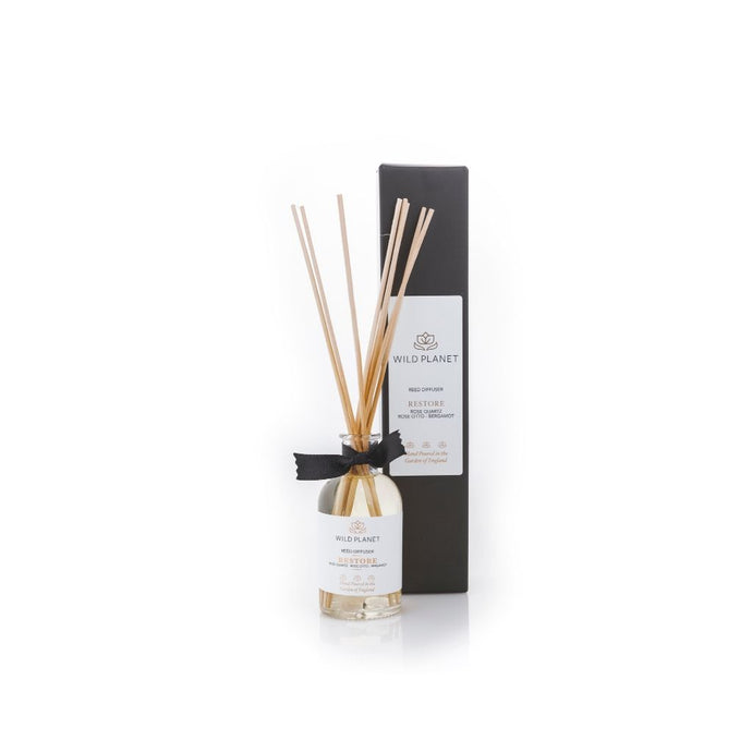 Restore Essential Oil Reed Diffuser with glass bottle with black branded box by Wild Planet Products
