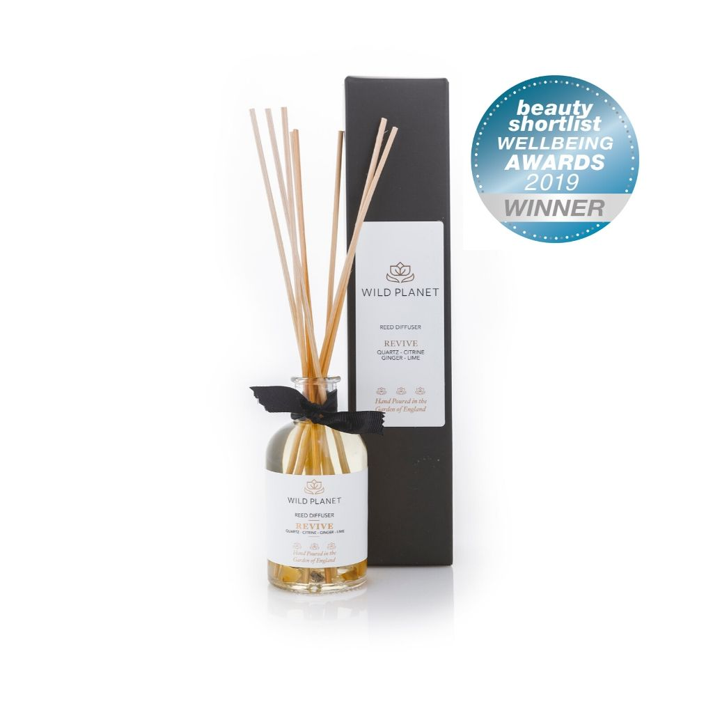 Natural Home Fragrance Reed Diffuser in Revive with BeautyShortlist 2019 awards badge by Wild Planet