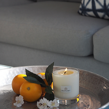 Lit Orange Blossom scented candle on silver tray with fresh oranges and white flowers near grey sofa