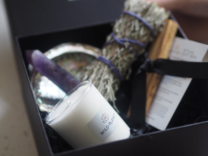 Cleansing Ritual Gift Box with Sage, Palo Santo sticks, candle, abalone shell, amethyst in black box