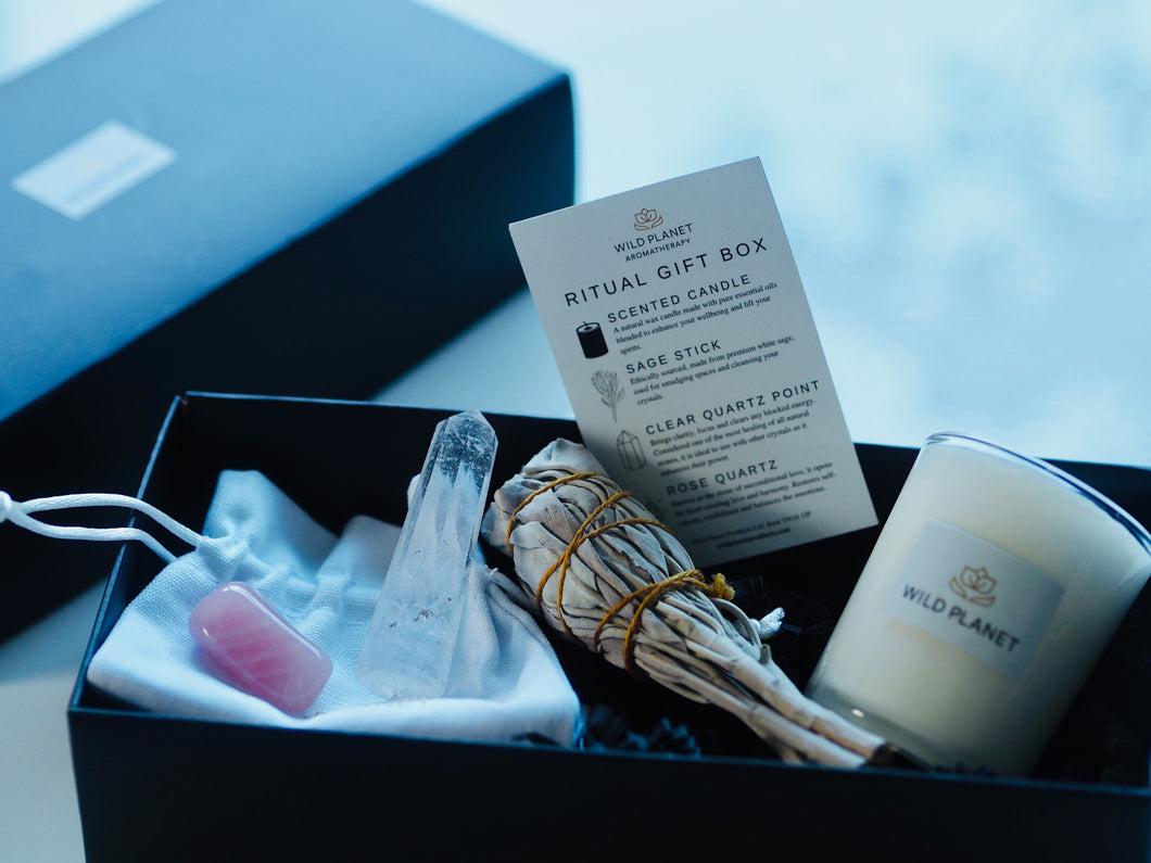 Wellbeing Ritual Gift Box with Quartz Crystal point, Rose Quartz stone, Sage Stick, votive candle