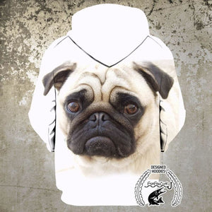 Animal Face Hoodies - Pug Face Face Pull Over Hoodie - Animal Face Cloths