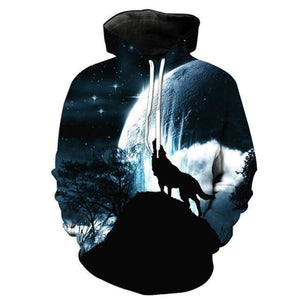 Animal Hoodies - 3D Unisex Pull Over Hoodie - Howling Wolf