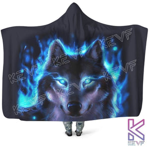 Blue Eyes Wolf Hooded Blanket