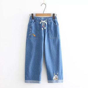 Denim Carrot Rabbit Embroidery Jeans - Dark Blue / S - kw-jeans