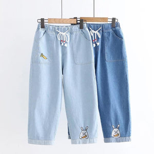 Denim Carrot Rabbit Embroidery Jeans - kw-jeans