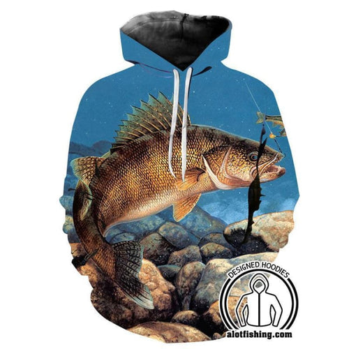 Fishing Hoodies - 3D Print Unisex Pull Over Hoodies - Walleye