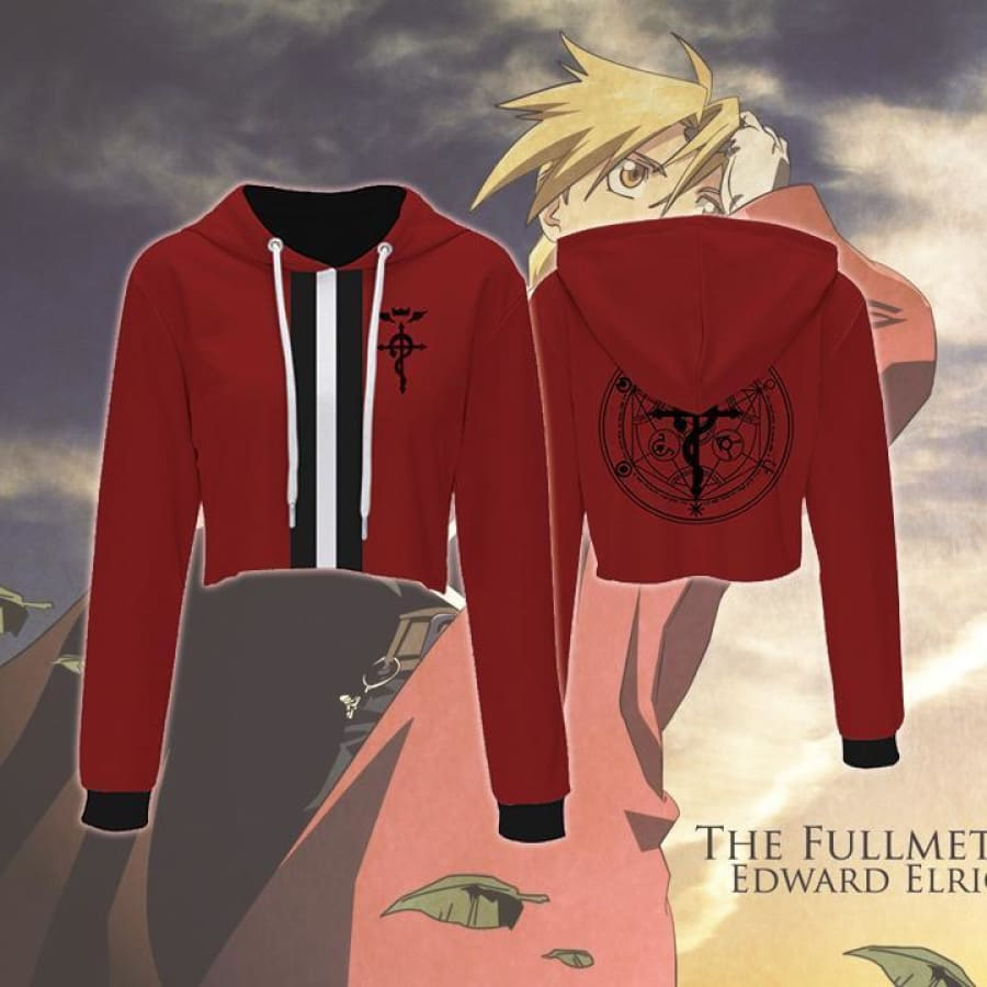 Fullmetal Alchemist Hoodies Edward Elric Red Crop Top Hoodie