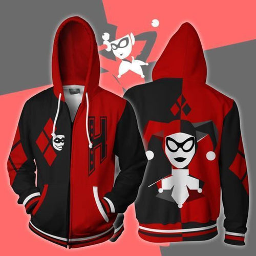 Harley Quinn Hoodies - Harley Quinn Black and Red Cosplay Zip Up Hoodie