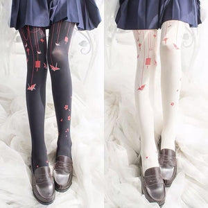 Lolita Paper-crane Velvet Tights - kw-tights
