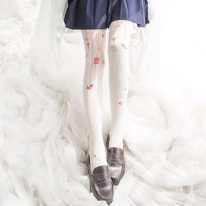 Lolita Paper-crane Velvet Tights - White / One Size - kw-tights