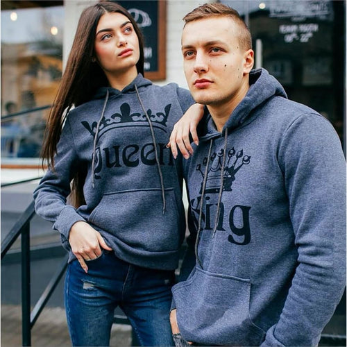 Matching Couple Hoodies - Gray King Queen Hoodies