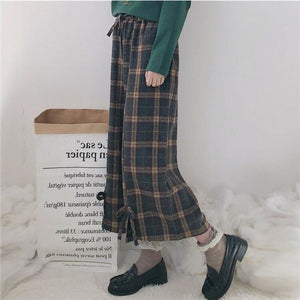 Plaid Bow Pull-On Pants - kw-pants