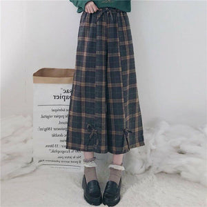 Plaid Bow Pull-On Pants - One Size - kw-pants