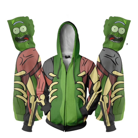 Rick And Morty Hoodies - 3D Pickle Rick Zip Up Hoodie