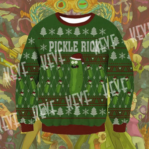 Rick And Morty Pickle Rick Knitting Pattern 3D Print Ugly Christmas Sweatshirt