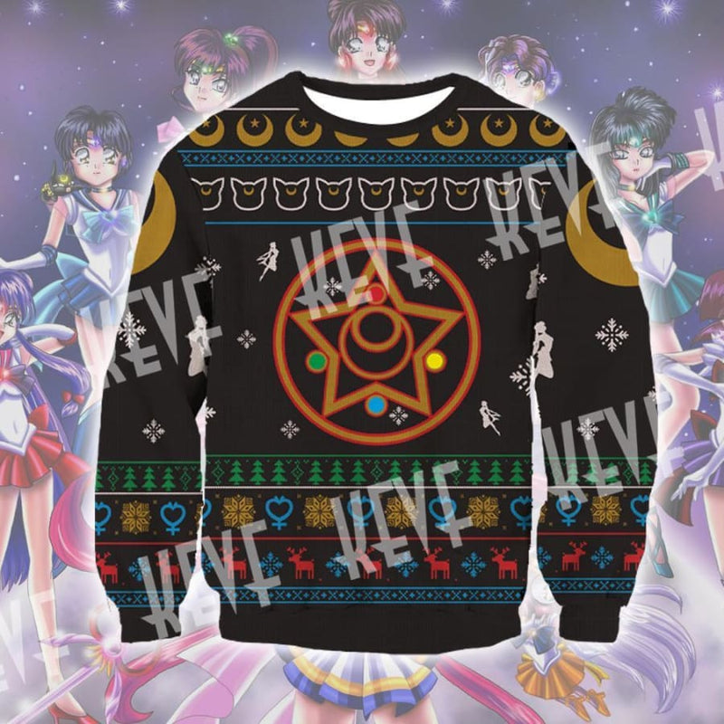 Sailor Moon Christmas Sweater.Anime Tagged Ugly Sweater Qqio