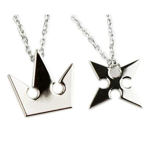Set of 2pcs Kingdom Hearts Soras Crown Roxass Cross Necklace Keyblade Metal chain - necklace