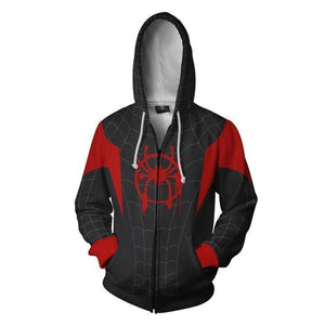 Spiderman Hoodies - Into The Spider-verse Cosplay Zip Up Hoodie