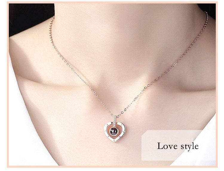 100 Languages I Love You Necklace Silver And Rose Gold