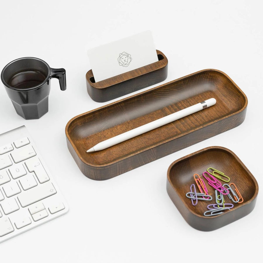 Walnut Stained Beechwood Desk Organizer Set