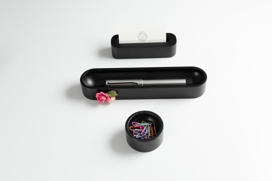 Black Oval Pen Tray with a Pink Flower
