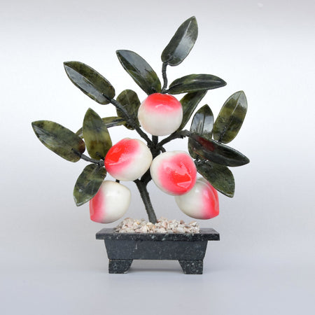 Feng Shui Crystal Peach Tree / Living Room Accessories /Decorative Glass Art/ Glass Fruits /Mindfulness Gift / Symbol of Health & Longevity-Artificial Trees-iulia