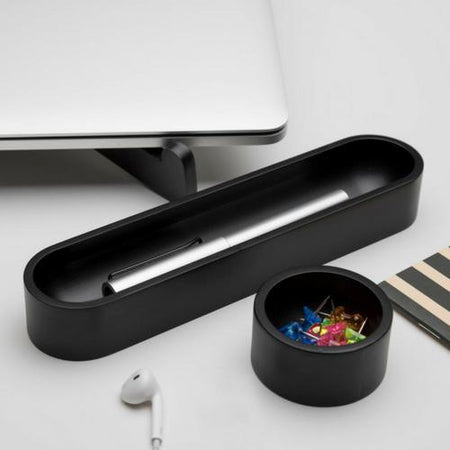 Iulia Black Oval Desk Organizer Set Black Clear Desk Organiser Desk Organizers Minimalist Desk Organizer Office Desk Accessories Iulia