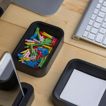 Iulia Black Paper Clip Holder Black Desk Organizers Modern Desk Organiser Office Desk Accessories Paper Clip Holder Iulia