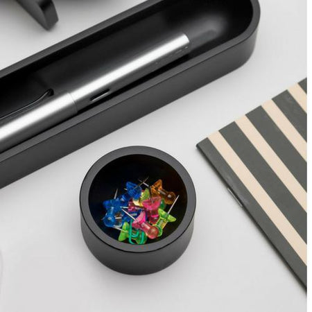 Iulia Black Round Paper Clip Holder Black Clear Desk Organiser Desk Organizers Minimalist Desk Organizer Office Desk Accessories Iulia