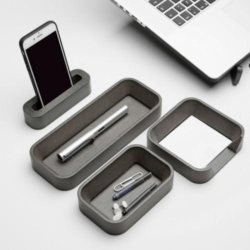 Iulia Grey Desk Organizer Set Desk Organizers Grey Modern Desk Organiser Office Desk Accessories Special Sets Iulia