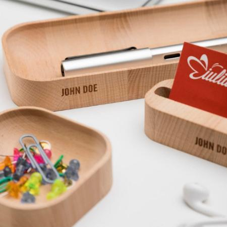 Iulia Personalized Beechwood Desk Organizer Set Beechwood Personalized Special Sets Iulia