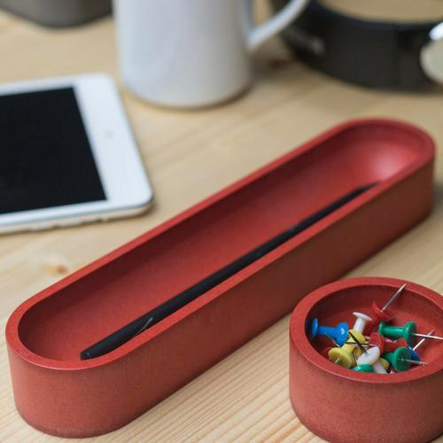 Iulia Red Oval Pen Tray Clear Desk Organiser Desk Organizers Minimalist Desk Organizer Office Desk Accessories Pen Tray Iulia