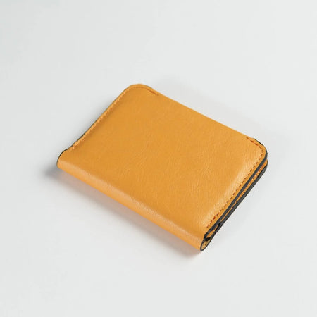 Minimalist Bifold Leather Wallet (Bright Orange)