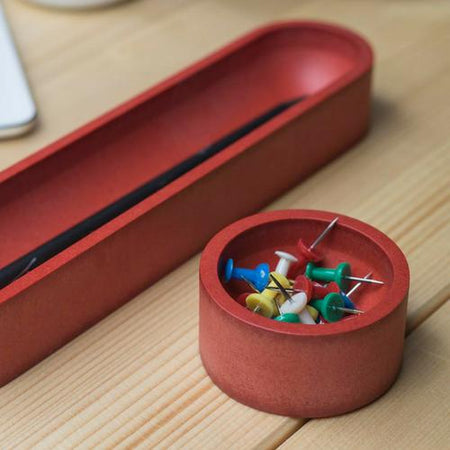 Iulia Red Round Paper Clip Holder Clear Desk Organiser Minimalist Desk Organizer Office Desk Accessories Wood Wooden Paper Clip Holder Iulia
