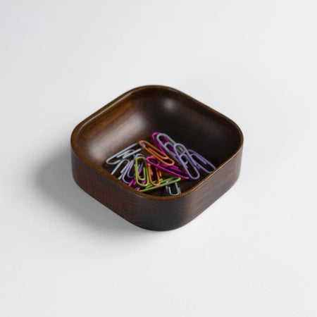Dark Mahogany Stained Beechwood Paper Clip Holder