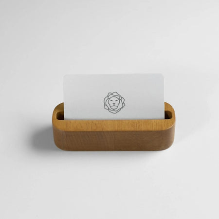 Oak Stained Beechwood Business Card Holder