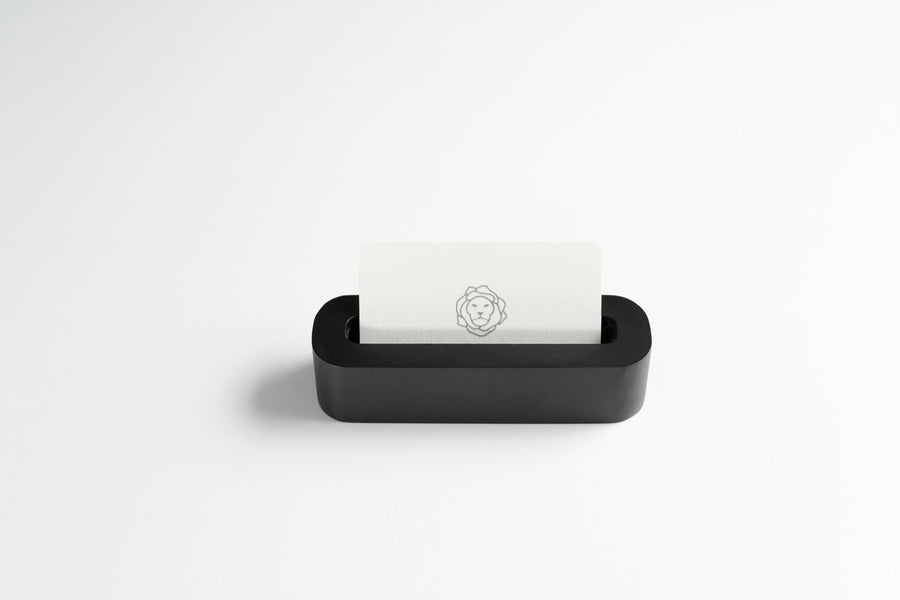 Black Oval Pen Tray with a Flower