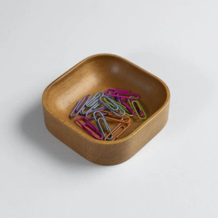 Oak Stained Beechwood Paper Clip Holder